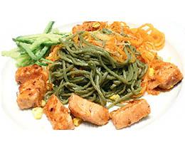 Лапша зеленый чай с семгой - рецепт приготовления